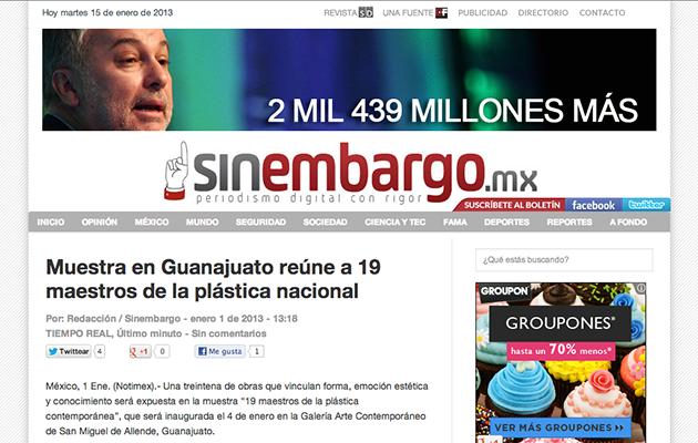 Nota - 1 Enero 2013 - Sin Embargo