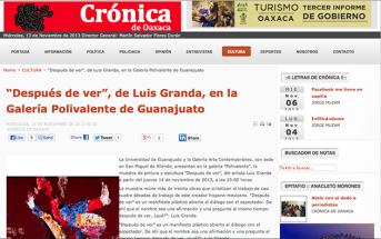 """""""Después de ver"""", de Luis Granda, en la Galería Polivalente de Guanajuato  – cronicaoaxaca.info"""