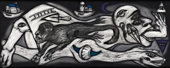 Cuarto cósmico I (2012), Rubén Maya, Pastel sobre papel arches, 97 x 240 cm