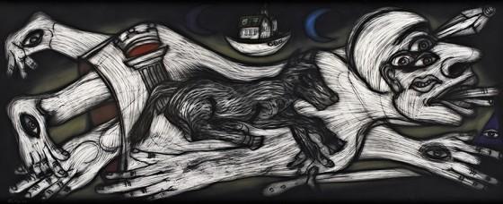 Cuarto cósmico II (2012), Rubén Maya, Pastel sobre papel arches, 97 x 240 cm