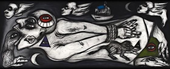 Cuarto cósmico III (2012), Rubén Maya, Pastel sobre papel arches, 97 x 240 cm