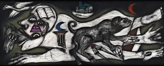 Cuarto cósmico IV (2012), Rubén Maya, Pastel sobre papel arches, 97 x 240 cm
