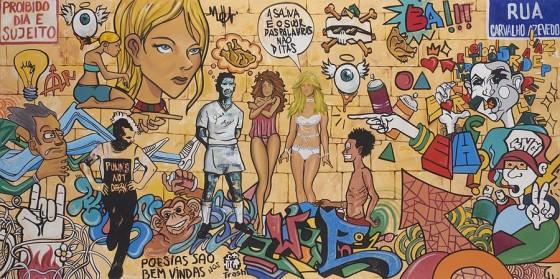La saliva y el sudor son palabras,no dichas (graffiti brasil),  2015, EH?, Óleo sobre tela, 120 x 240 cm