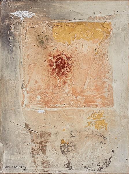 Graphos I (2013), Nunik Sauret, Grafito, Transfer, hoja plata fresco, 40 x 30 cm