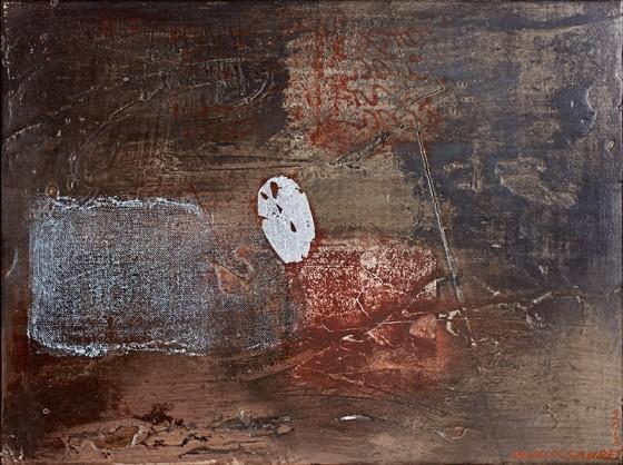 Graphos II (2013), Nunik Sauret, Grafito, Transfer, hoja plata fresco, 40 x 30 cm