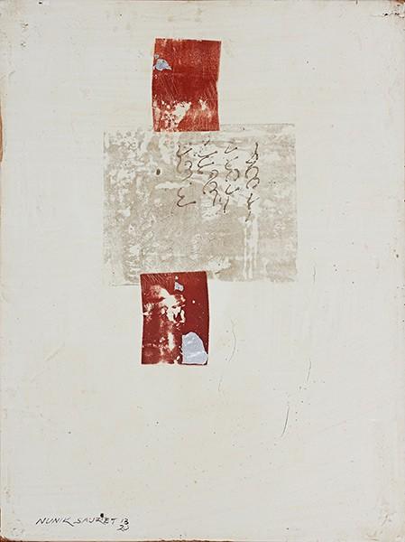 Graphos III (2013), Nunik Sauret, Grafito, Transfer, hoja plata fresco, 40 x 30 cm