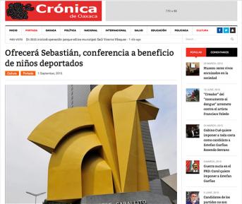 Ofrecerá Sebastián, conferencia a beneficio de niños deportados – cronicadeoaxaca.com