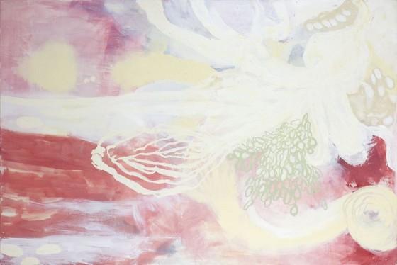 Cosmogonía 3 (2007), Magali Lara, óleo sobre tela, 120 x180 cm.