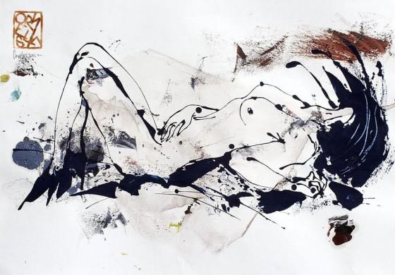 Divertimento 1, de la serie cuaderno del 53 (2015), Héctor Ornelas, Dibujo con espátula, tiner sucio y arenas, 19.5 x 42 cm