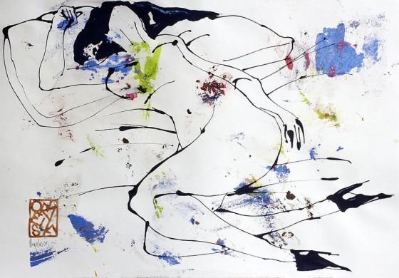Divertimento 2, de la serie cuaderno del 53 (2015), Héctor Ornelas, Dibujo con espátula, tiner sucio y arenas, 19.5 x 42 cm