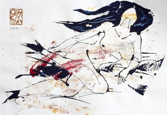 Divertimento 3, de la serie cuaderno del 53 (2015), Héctor Ornelas, Dibujo con espátula, tiner sucio y arenas, 19.5 x 42 cm