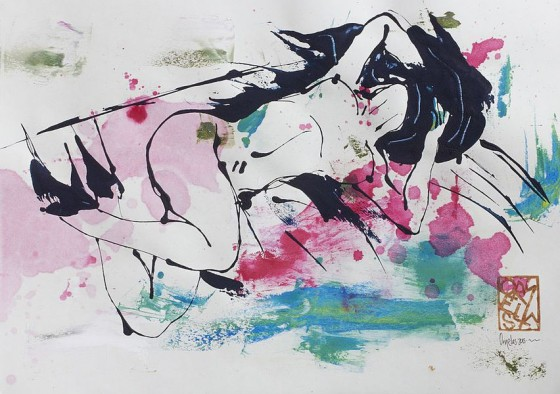 Divertimento 4, de la serie cuaderno del 53 (2015), Héctor Ornelas, Dibujo con espátula, tiner sucio y arenas, 19.5 x 42 cm