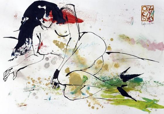 Divertimento 6,  de la serie cuaderno del 53 (2015), Héctor Ornelas, Dibujo con espátula, tiner sucio y arenas, 19.5 x 42 cm