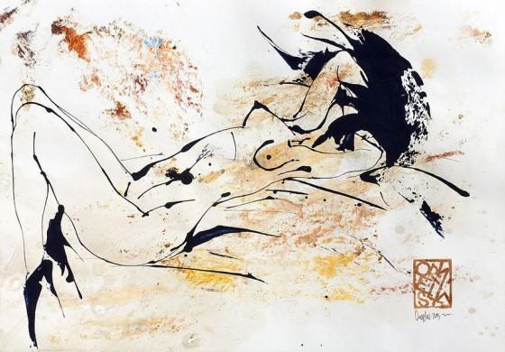 Divertimento 7, de la serie cuaderno del 53 (2015), Héctor Ornelas, Dibujo con espátula, tiner sucio y arenas, 19.5 x 42 cm