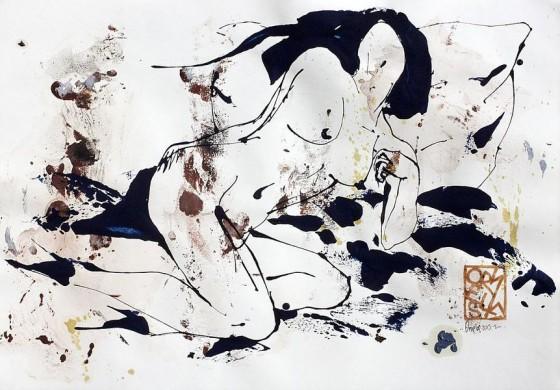 Divertimento 8, de la serie cuaderno del 53 (2015), Héctor Ornelas, Dibujo con espátula, tiner sucio y arenas, 19.5 x 42 cm