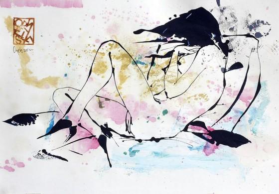 Divertimento 9, de la serie cuaderno del 53 (2015), Héctor Ornelas, Dibujo con espátula, tiner sucio y arenas, 19.5 x 42 cm