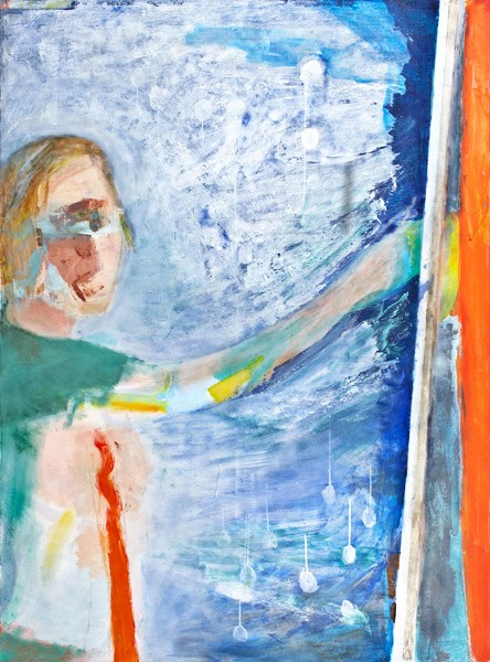 Autoretrato pintando (2010), Manuela Generali, Óleo sobre tela, 190 x 135 cm
