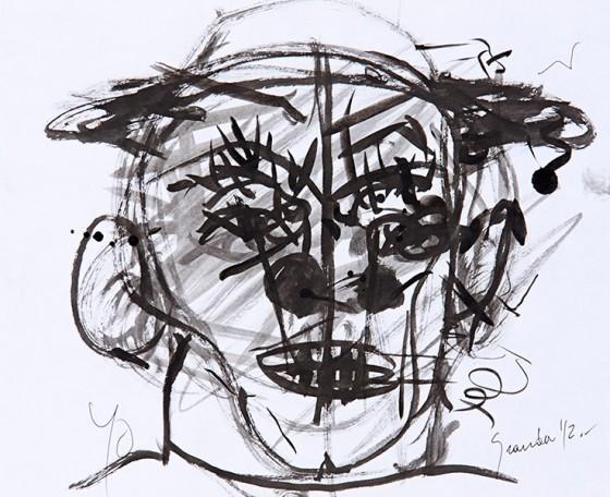 Autoretrato (2012), Luis Granda, Tinta y acuarela sobre papel, 31 x 38 cm