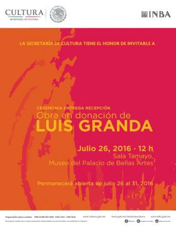 Ceremonia de Entrega-Recepción de las Obras en Donación del Mtro. Luis Granda al Instituto Nacional de Bellas Artes.