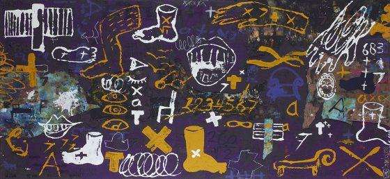 ¿Quieres joderme acaso? , Antoni Tapiès (2016), Héctor Ornelas, Arena sobre tela, 120 x 240 cm