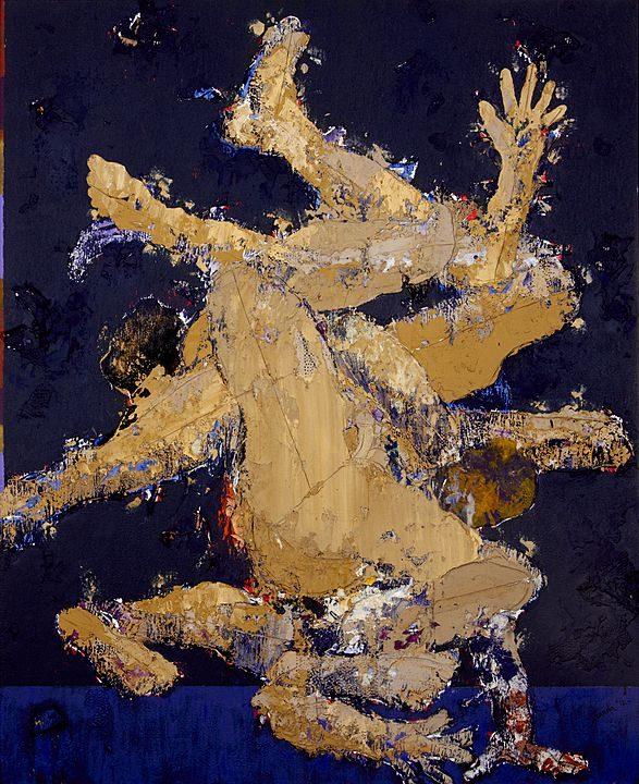 Luchadores (2013), Luis Granda, Mixta sobre tela, 170 x 140 cm