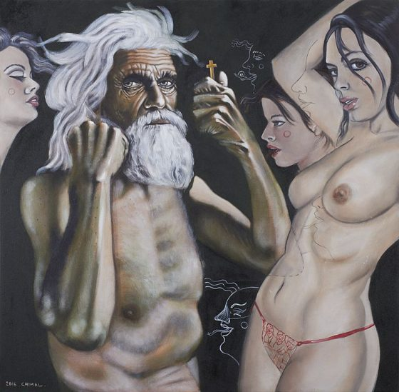Carne, Serie las tentaciones (2016), Alonso Chimal, Óleo sobre tela, 100 x 100 cm
