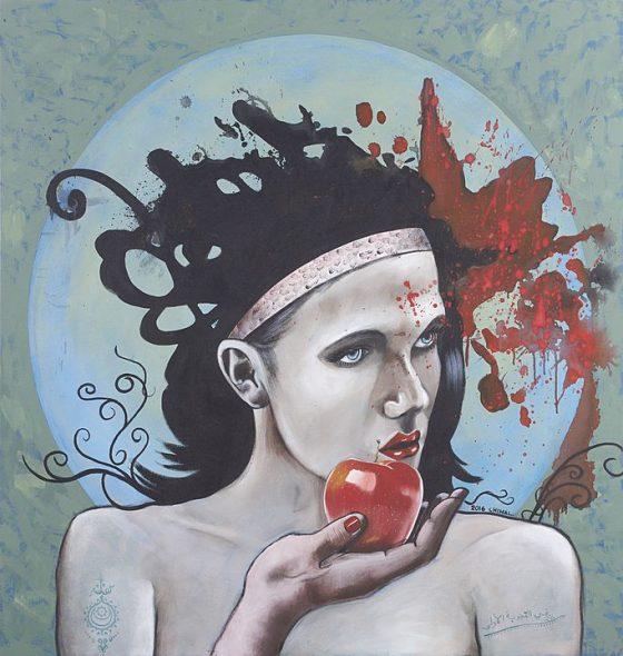 La primera tentación, Serie las tentaciones (2016), Alonso Chimal, Acrílico sobre tela, 115 x 110 cm