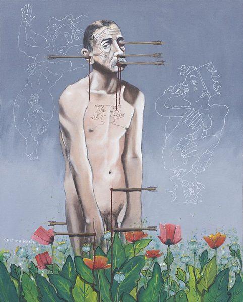 Las tentaciones son como dardos, Serie las tentaciones (2016), Alonso Chimal, Acrílico sobre tela, 125 x 100 cm