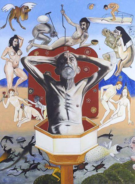 Simeon el estilita, Serie las tentaciones (2016), Alonso Chimal, 190 x 140 cm