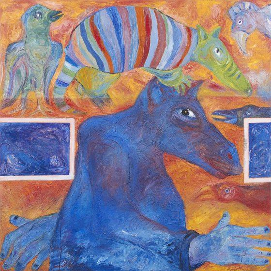 2017 - Rubén Maya, Armadillo ser, Óleo sobre tela, 100 x 100 cm