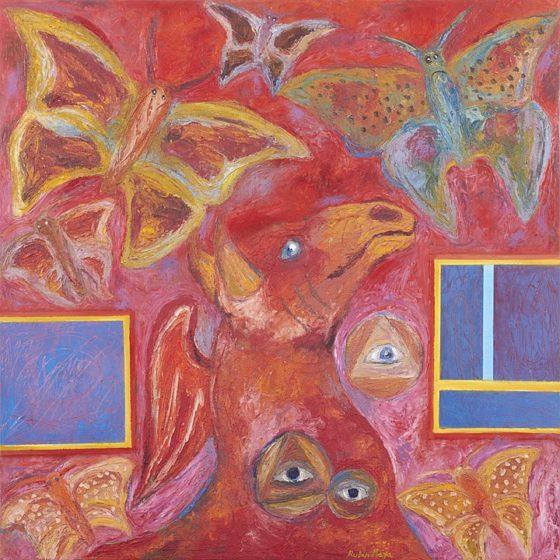 2017 - Rubén Maya, Caballo ala-mariposa, Óleo sobre tela, 100 x 100 cm