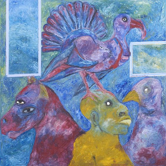 2017 - Rubén Maya, Cocono Mental, Óleo sobre tela, 100 x 100 cm