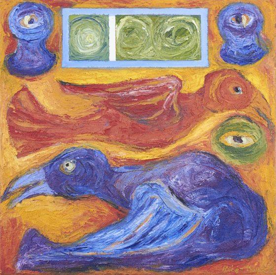2017 - Rubén Maya, Pájaro rojo-violet, Mixta sobre tela, 50 x 50 cm