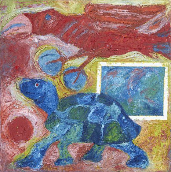 2017 - Rubén Maya, Tortuga vé, Óleo sobre tela, 50 x 50 cm