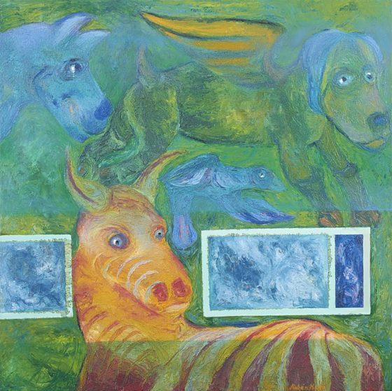 2017 - Rubén Maya, Verde y cebra, Óleo sobre tela, 100 x 100 cm