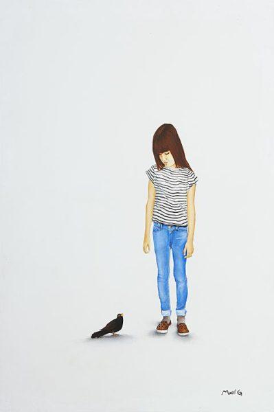 2015 - Marisela Peguero, Número 1, Serie Dialogos, Acrílico sobre madera, 62 x 40 cm