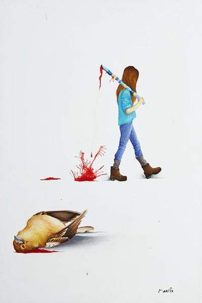 2015 - Marisela Peguero, Número 2, Serie Dialogos, Acrílico sobre madera, 62 x 40 cm