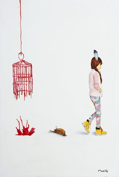 2015 - Marisela Peguero, Número 3, Serie Dialogos, Acrílico sobre madera, 62 x 40 cm