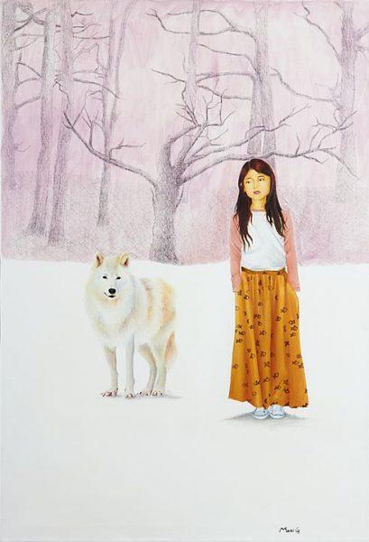 2016 - Marisela Peguero, Al otro lado, Mixta sobre tela, 100 x 70 cm