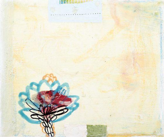 2018 - Esmeralda Torres, Estudio para apuntar el día Y, Mixta sobre manta, 25 x 30 cm