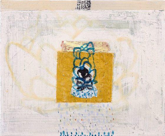 2018 - Esmeralda Torres, Estudio para apuntar el día ee, Mixta sobre manta, 25 x 30 cm